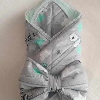 Детский конверт плед на выписку из роддома