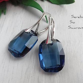 Сережки из серебра с оригинальными кристаллами Сваровски