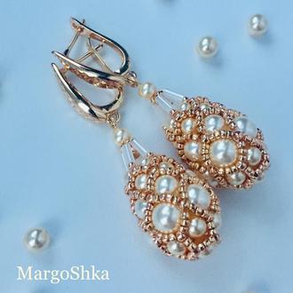 """Сережки фаберже зі Swarovski «Pearl&Gold"""""""
