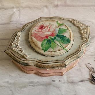 Винтажная шкатулка с розой Деревянная резная шкатулка для украшений