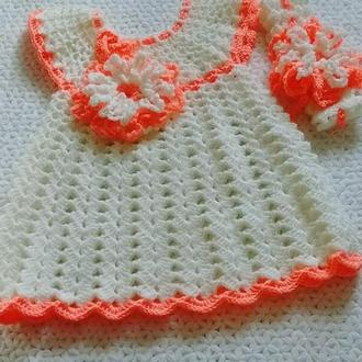 детское вязанок платье с повязкой крючком