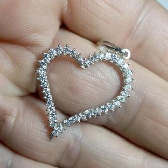 "Кулон, подвеска ""Сердце"", подарок девушке, любимой, серебро 925."