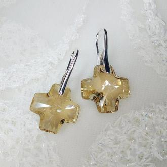 Серьги Swarovski Cross Crystal Golden Shadow