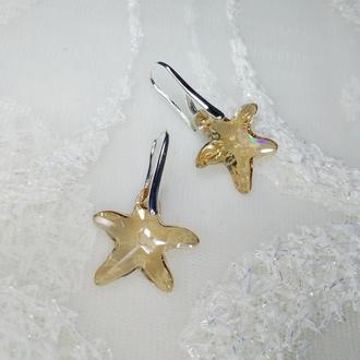 Серьги Swarovski Starfish Crystal Golden Shadow