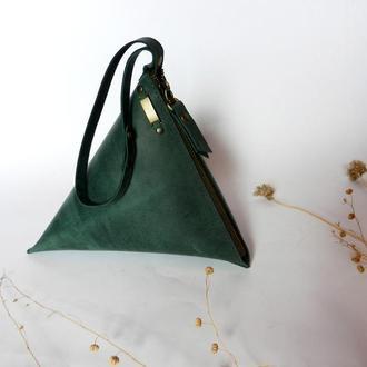 Кожаная сумка-клатч «Пирамида»