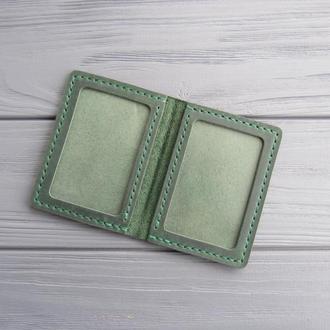 Кожаная обложка для id паспорта, Кожаная обложка для водительских прав_зеленая