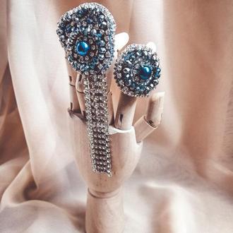 Массивные серьги / серьги люстры / висячие серьги / большие серьги / серьги с синими камнями