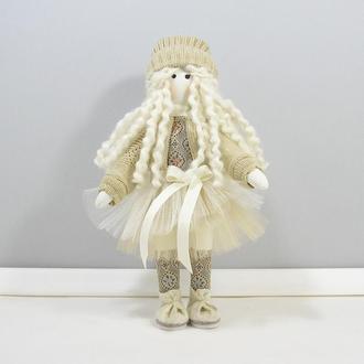 Нежность текстильная кукла Мягкая куколка блондинка Кофейно бежевый декор