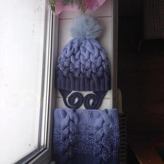 Новый зимний комплект шапка с подкладом и завязками+снуд
