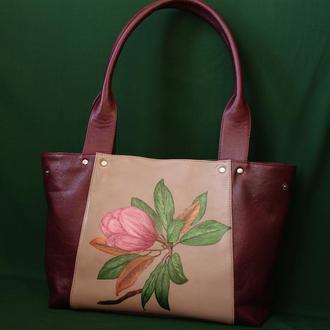 """Кожаная сумка """"Весна в бордо"""""""