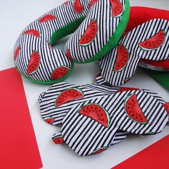Подушка для путешествий арбузы, подушка для шеи арбузы, дорожная подушка - арбузы, подарок к 8 марта