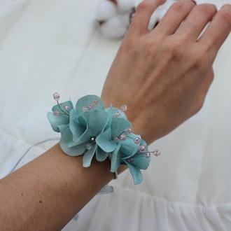 Свадебный браслет с голубой гортензией для невесты Цветочный браслет для подружек невесты
