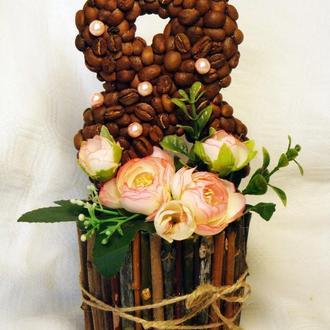 Интерьерная композиция, подарок на 8 марта ′Кофейная восьмерка′