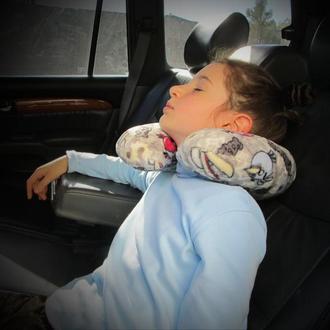 Дитяча дорожня махрова подушка валик рогалик підкова авіа Angry Birds пташки ведмедики