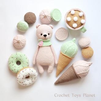 Набір в'язаних солодощів + ведмедик