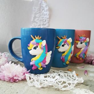 Чашка Єдиноріжка з короною та крильцями