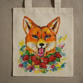 еко сумка торба лисиця лиса полуниця клубника екологія веган звірі ручний розпис