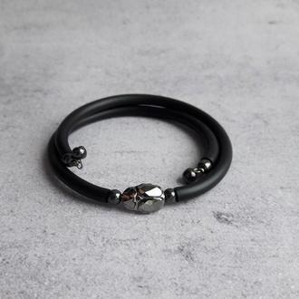 Черный браслет с кристаллом Swarovski жуком-скарабеем Silver Nigh, талисман удачи. Подарок девушке.