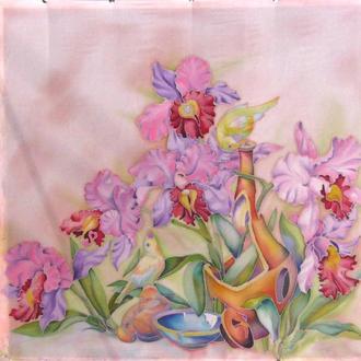 платок,Розовые орхидеи