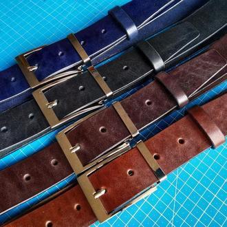 Кожаный ремень (широкий 4 см, мужской, для джинс, пояс)