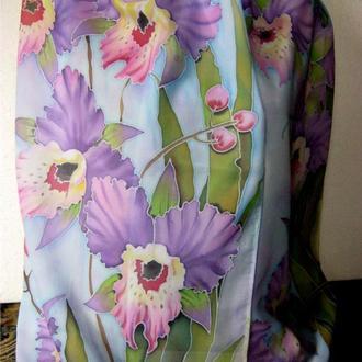 шарф палантин сказочные орхидеи батик