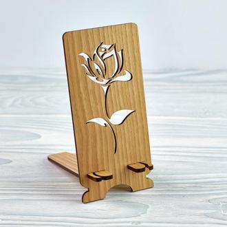 """Подставка под мобильный телефон из натурального дерева """"Роза"""""""