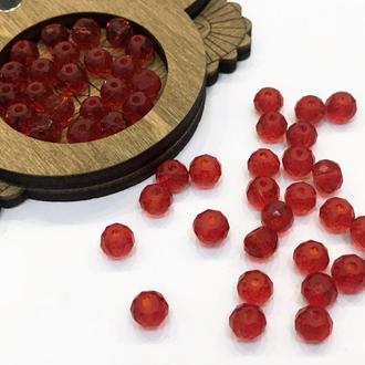 Граненные бусины рондель, темно-красные, 4*6 мм | № 00663