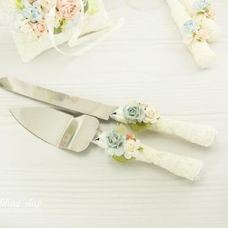 Нож и лопатка для торта / Ніж і лопатка для весільного торту / Персиковий / Блакитний ніж і лопатка