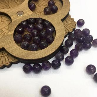 Круглые бусины, натуральный камень, аметистовые, 6 мм   № 00675