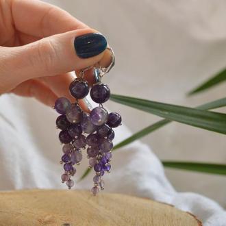 """Серьги из натурального аметиста """"Гроздь винограда"""""""