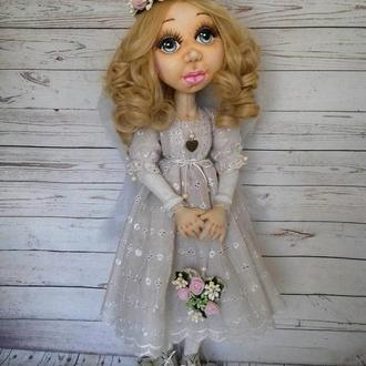 Интерьерная текстильная шарнирная куколка Ангелок
