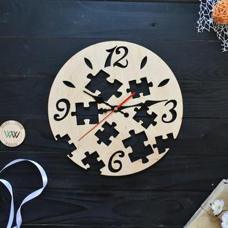 """Оригинальные настенные часы из фанеры """"Пазл / Puzzle"""""""