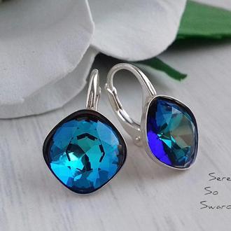 Серьги из серебра с оригинальными кристаллами Сваровски