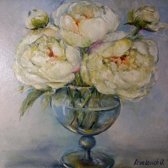 Картина маслом 20×20 см. живопись Белые пионы