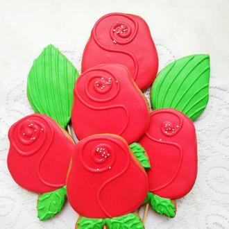 Пряничные розы 10 см по штучно