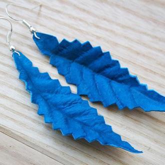 Синие серьги листья Рельефные длинные серьги с листом подвеской Легкий и удобный весенний аксессуар