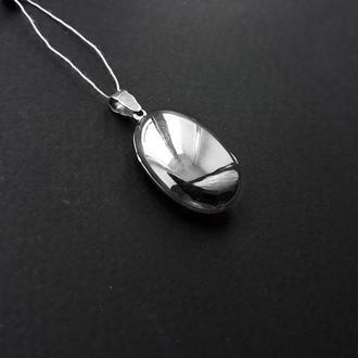 Овальный медальон под фото в серебре 925 пробы