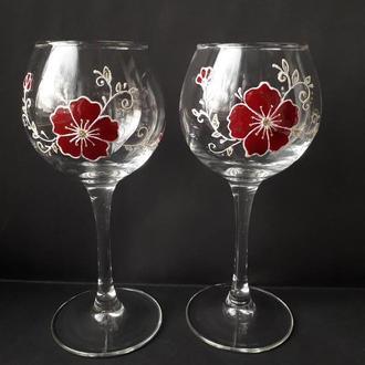 Бокалы для вина с росписью