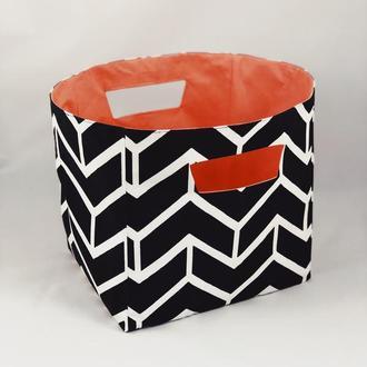 Корзина из ткани, интерьерная корзина черного цвета. Декор в детскую. Корзина для игрушек.