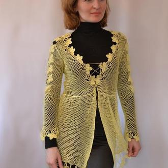 вязаный кардиган, кружевной пеньюар, светло-желтая блузка, женская кофточка на шнуровке