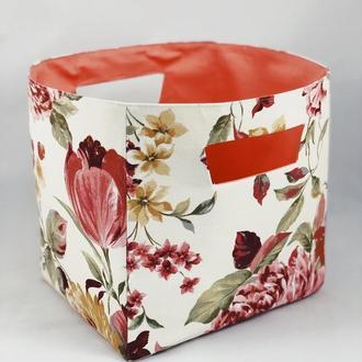 Корзина из ткани, интерьерная корзина с пионами. Декор в детскую. Корзина для игрушек.