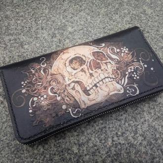 Кожаный кошелёк на молнии, кошелёк на змейке, портмоне с черепом