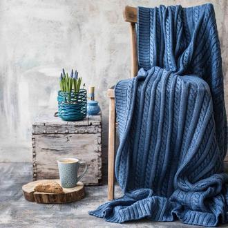 Плед вязаный КЛАССИК 150x200 голубой джинс