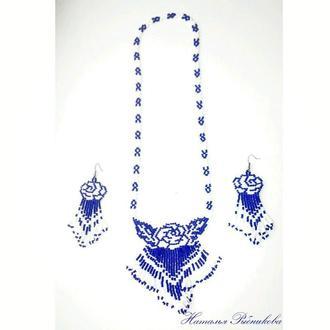 Колье синие розы из бисера Белые розы ожерелье Колье на подарок Украшения