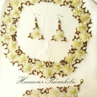 Комплект ′Желтые цветы′ Цветочное колье Легкое летнее ожерелье Желтое колье купить Украина
