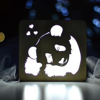 Ночник из дерева - Панда