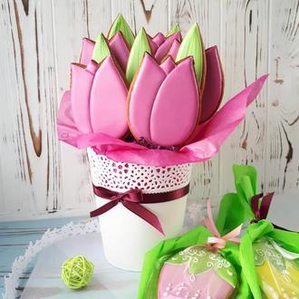 Пряничный букет Тюльпаны (в кашпо)