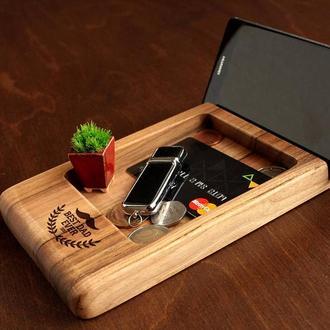 Персонализированный органайзер для смартфона/планшета, именной подарок на праздник близкому человеку