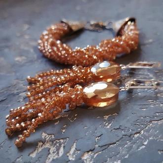 Комплект украшений серьги и браслет из кристаллов