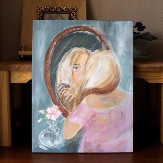 """Портрет девушки с отражением в зеркале / Картина """"Цветет шиповник"""" 30,5х40 см Подарок ко дню Матери"""
